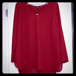 NWT Express Red Criss Cross Front Top size large